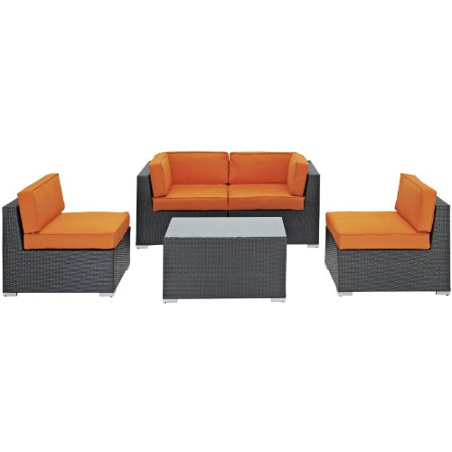 LexMod Camfora Outdoor Wicker Patio 5 Piece Sofa Set in Espresso with Orange Cushions