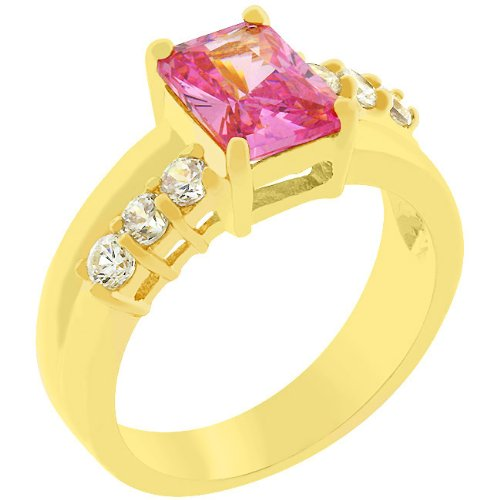 Radiant Cut Pink Cubic Zirconia CZ 14k Gold Plate Anniversary Ring (Size 5,6,7,8,9,10)