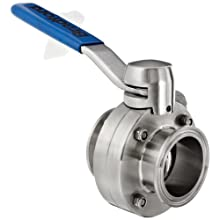 "Dixon B5104S200CC-D Stainless Steel CF8M Clamp End Butterfly Valve with Silicone Seal, 2"" Tube OD, 140 psi Pressure"
