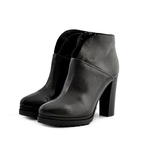 Scarpe stivaletti tronchetti donna Manas numero 40 152M1503SQNERO in pelle nera con tacco