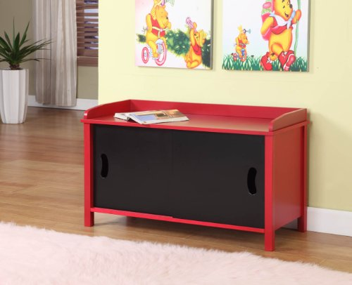 King S Brand R1118 Wood Toy Chest Storage Bench Study Table Red
