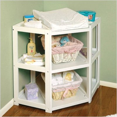 White Diaper Corner Changing Table