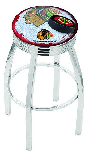 """Holland Bar Stool NHL Officially Licensed L8C3C Chicago Blackhawks Swivel Bar Stool, 30"""", Chrome/Red"""