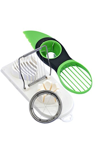 EZ Supply Kitchen Slicing Bundle 3 in 1 Plastic Egg Slicer/Chopper/Wedger with Stainless Steel Cutting Wires, White and 3 in 1 Heavy Duty Avocado Splitter/Pitter/Slicer, Green (Chopper Wire compare prices)