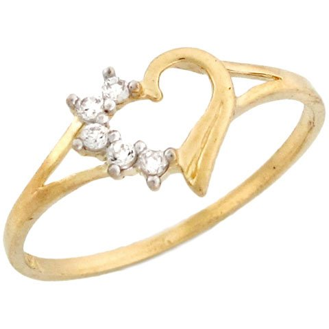 10k Yellow Gold Heart Shaped Promise Ring with White CZ Accents
