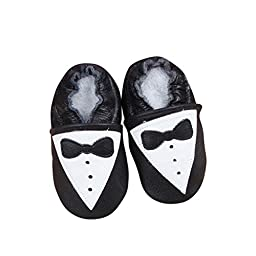 Baby Moccasins with Tuxedo Design for Boy Girl Infant Toddler Pre Walker Crib Shoe with Embellished Design (Small 4.5 inches)
