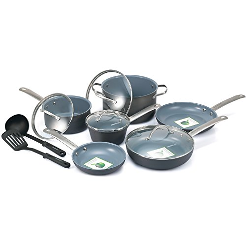 GreenLife 12 Piece Hard Anodized Non-Stick Ceramic Gourmet Cookware Set