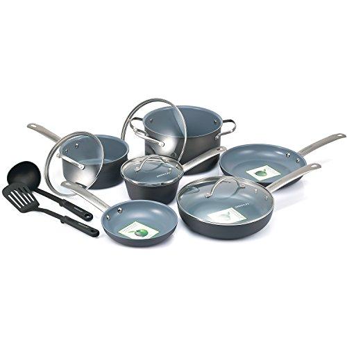 GreenLife 12 Piece Hard Anodized Non-Stick Ceramic Gourmet Cookware Set