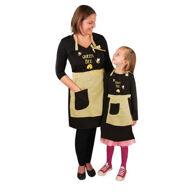 Manual Mommy and Me Kitchen Apron Set, Queen Bee and Busy Bee