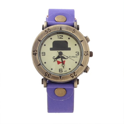 WLM Unisex Girls Boys Purple Band Cute Cartoon Design Leatheroid Quartz Wrist Watch Watches Clock
