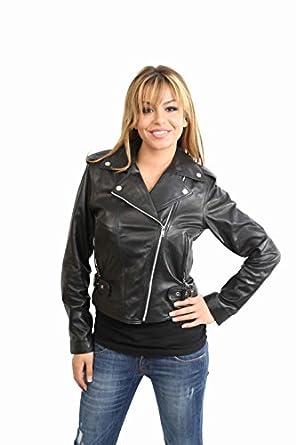 Ladies Biker Leather Jacket Galka Black Womens Biker Style Fitted Leather Jacket (10)