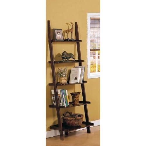 espresso brown leaning bookcase bookshelf ladder shelves