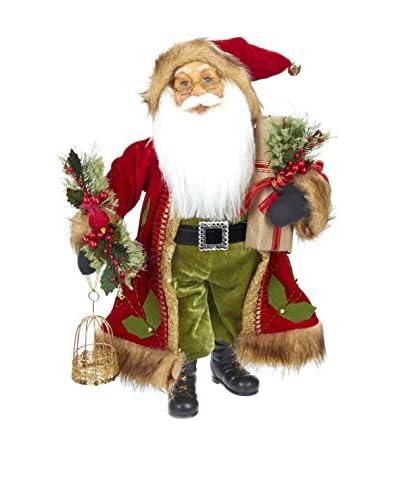 Kurt Adler Red and Green Standing Santa Figure with Bird