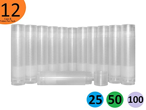 DIY Natural Products 12 Clear Round Empty Lip Balm Tubes with Caps Set 5.5 mL USA Made BPA Free Plastic for at home bulk bees wax cosmetic deodorant lipstick perfume glue non (black amber candle tray) (Toothpaste Tube Cap compare prices)