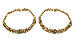 Women's Jewelry Ethnic Fashion Gold Plated Polki Payal Indian Anklet Partywear Traditional Jewelry
