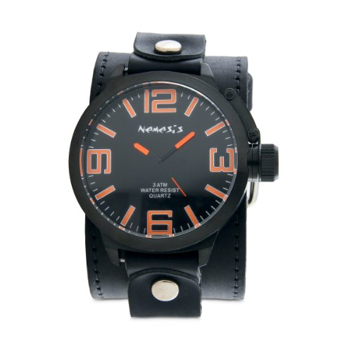 Nemesis Men's LBB040N Oversized Collection Wild Orange Marker Leather Band Watch