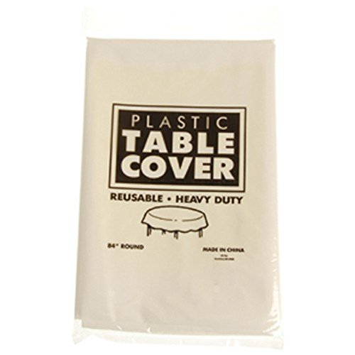 One White Plastic Round Heavy Duty Tablecloth - 84""