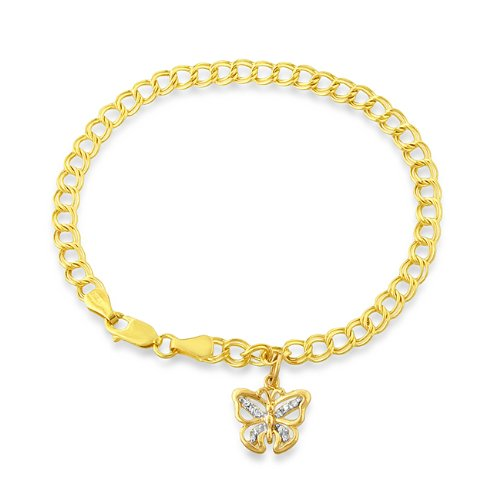 14kt Gold Diamond Butterfly Charm with 7