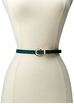 Jessica Simpson Women's Reversible Patent Leather Belt, Green, Small