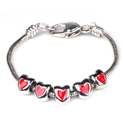 Pugster Red Heart Beads Fits Pandora Charms (not Include Bracelet)