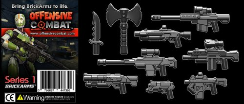 BrickArms-25-Scale-Weapon-Pack-Set-of-all-9-Offensive-Combat-Series-1-Weapons-Black