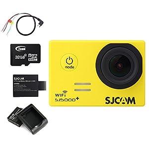 BOOMYOURS Original SJCAM SJ5000 Plus SJ5000+ WIFI Ambarella A7LS75 Action Sport Kamera Cam 1080P 60FPS Video Helmkamera 2xAkkus+32GB Micro SD Card+Akku-Ladeger?t+USB to AV out Kabel(gelb )