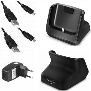 xubix GS776 USB Dock für Samsung Galaxy S3 S III GT-i9300 i9300 Dockingstation / Tischladestation / Tischlader + 2x USB Datenkabel + USB Ladegerät Netzteil Laden und Synchronisieren