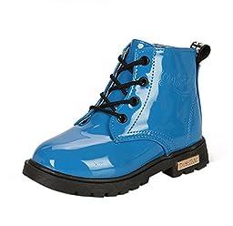 Maxu Fashion Girls Boys Blue PU Waterproof Child Martin Boots,Little Kid, 11.5M US