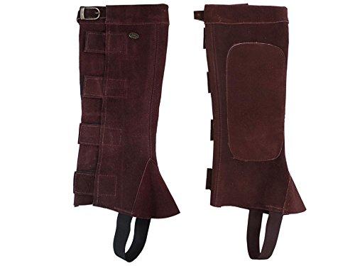Derby Originals Suede Leather Half Chaps with Velcro Medium, Brown