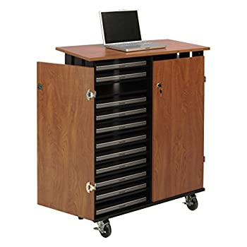 "Oklahoma Sound LCSC Laptop Charging and Storage Cart, 37"" Length x 19-1/2"" Width x 43-1/4"" Height, Wild Cherry/Black"