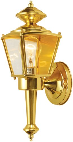 Hardware House 544262 13-1/2-Inch by 4-1/2-Inch Outdoor Lighting Fixture Polished Brass