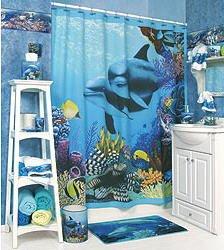 Dolphin deep blue ocean sea tropical reef for Coral reef bathroom decor