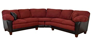 James 2-Pc Sectional Sofa in Bulldozer Burgundy Fabric