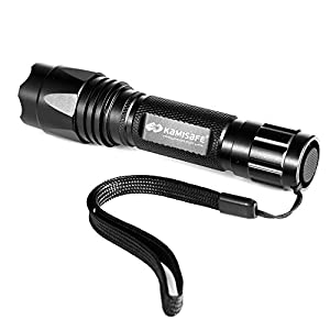 Kamisafe Waterproof Tactical LED Flashlight,Torch Light,Cree,XML,Q5,Outdoor,5 Modes,18650 Battery,For Hiking, Camping, Emergency with Wrist Strap