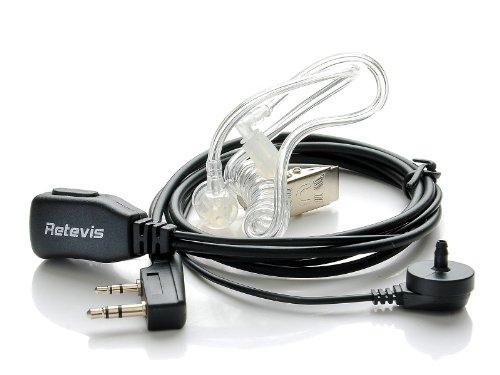 Retevis 2 Pin PTT Covert Air Acoustic Tube Headset Earpiece for Kenwood PUXING Baofeng UV-5R UV-5RA 888S Retevis H777 2 Way Radio Walkie Talkies (10 Pack)