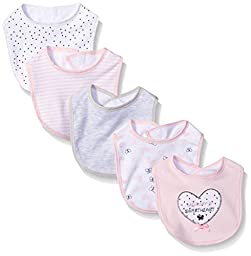 BON BEBE Baby Butterfly Assorted 5 Pack Bib Set, Pink Hearts/Butterflies, New Born
