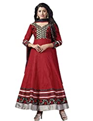 Women's Red & Black Cotton Embroidered Semi Stitched Suit