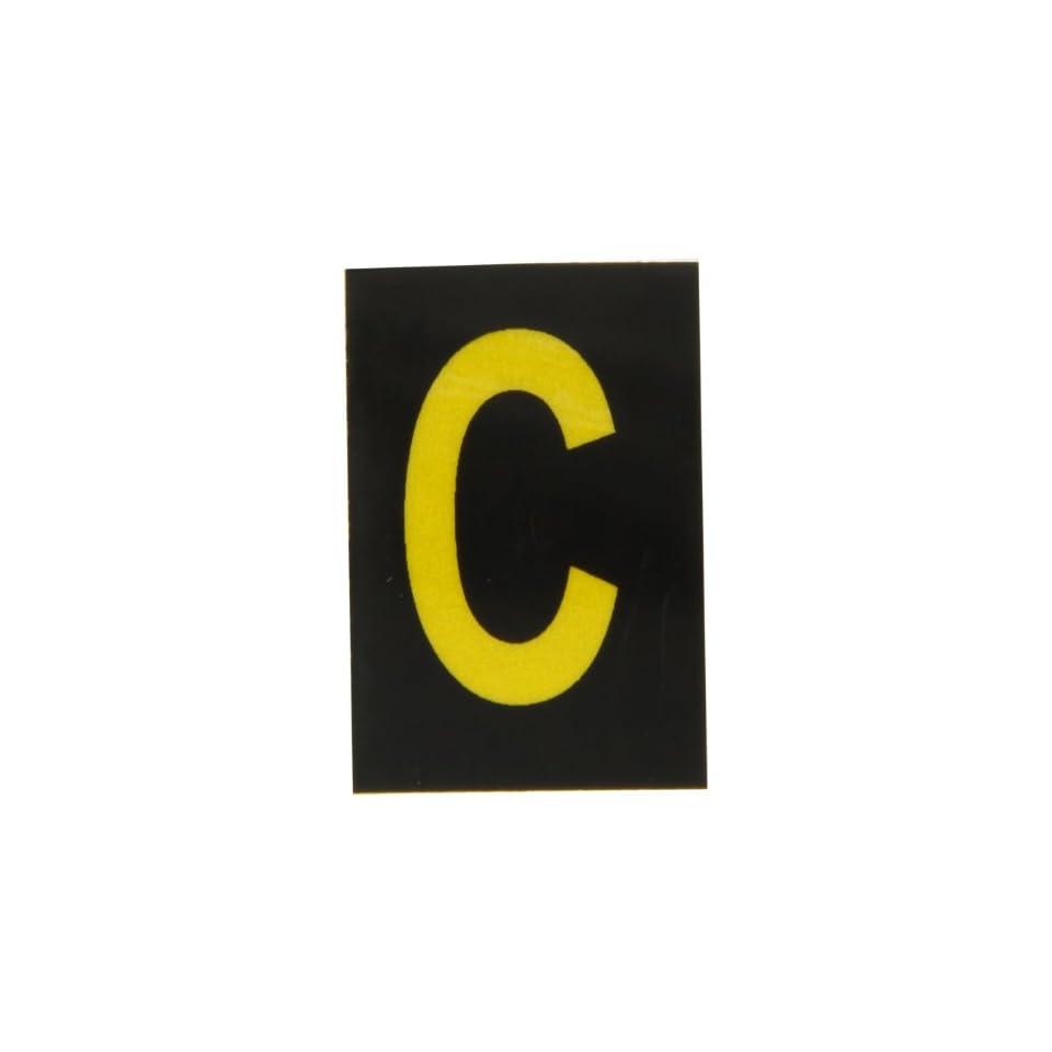 Brady 5905 C Bradylite 1 1/2 Height, 1 Width, B 997 Engineering Grade Bradylite Reflective Sheeting, Yellow On Black Reflective Letter, Legend C (Pack Of 25)