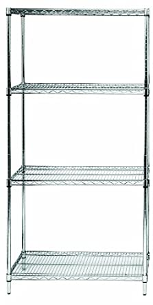 "Quantum Storage Systems WR86-1848S Starter Kit for 86"" High 4-Tier Wire Shelving Unit, Stainless Steel Finish, 18"" Width x 48"" Length x 86"" Height"