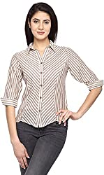 Texco Garments Women's Cotton Shirt (S3, White and Brown, Large)