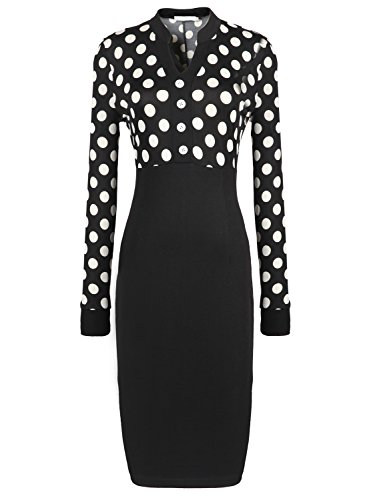 Pakula Women'S Business Long Sleeve Dots Print Patchwork Midi Dress