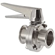 "Dixon B5101S200CC-C Stainless Steel 316L Butterfly Valve with Trigger Handle and Silicone Seal, 2"" Tube OD"