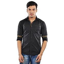 CREEDS Men's Black Cotton Casual Shirt(Large)