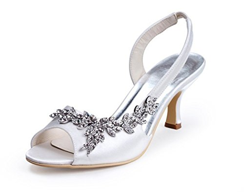 Minitoo GYMZ632 Womens Open Toe Kitten Heel White Satin Bridal Wedding Applique Shoes 9 M US
