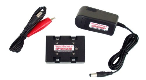 Thunder Power Rc Quad/4-Port Ultra-Micro Ac/Dc Charger Combo For 1-Cell/1S 3.7V Ultra-Micro Lipo Batteries, 0.3 Amp Charge Rate