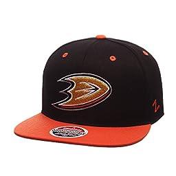 NHL Anaheim Ducks Men\'s Z11 Snapback Adjustable Hat, Black/Orange