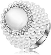 Comprar AnaZoz Joyería de Moda Perla 18K Chapado en Oro Rosa/Platino Cristal Austria Oval Anillo de Princesa