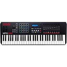 Akai Professional MPK261 | 61-Key USB MIDI Keyboard & Drum Pad Controller with LCD Screen (16 Pads / 8 Knobs / 8 Faders)