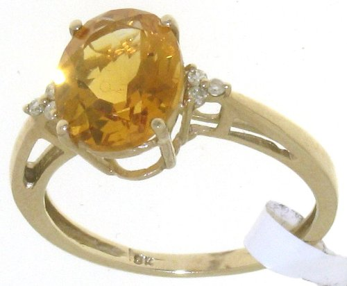 Stylish 9 ct Gold Women Channel Set Diamond Ring Brilliant Cut 0.05 Carat with Citrine