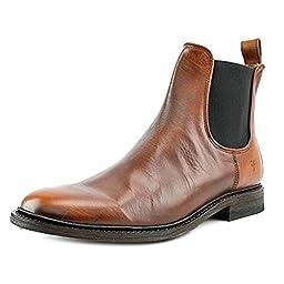 FRYE Men\'s James Chelsea Boot, Cognac Smooth Vintage Leather, 10 M US